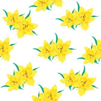 Modello senza cuciture di lily flower con foglie stile acquerello