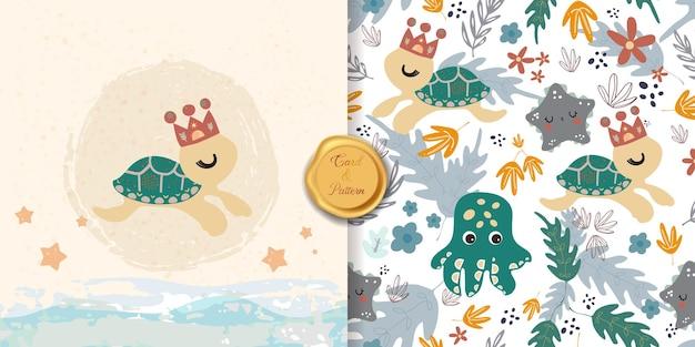 Collezione di pop art linea modello senza soluzione di continuità in stile bohémien con tartaruga e vita marina