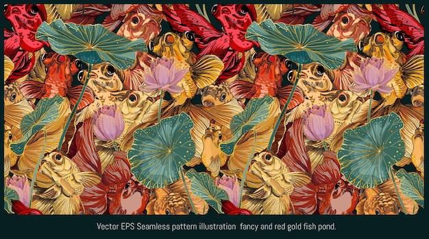 Modello senza cuciture foderato illustrazione disegnata a mano arte del pesce dorato che nuota con foglie di loto.