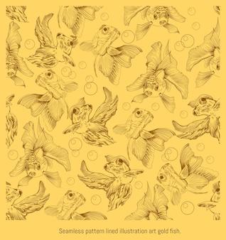 Modello senza cuciture foderato illustrazione disegnata a mano arte del pesce d'oro che nuota.