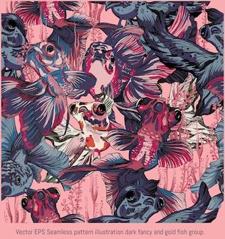Modello senza cuciture foderato illustrazione disegnata a mano arte di sovrapposizione di pesci d'oro che nuotano.