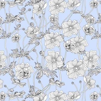 Anemone adorabile del fiore del modello senza cuciture disegnato a mano