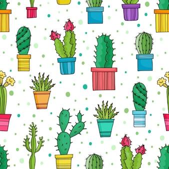 Seamless di graziosi cactus verdi e piante in vaso, fiori disegnati a mano.
