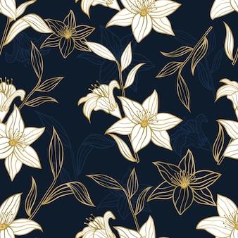 Modello senza cuciture di fiori e foglie tropicali floreali dorati di lusso