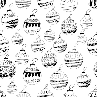 Modello senza cuciture realizzato con palline di albero di natale disegnate a mano con elementi doodle