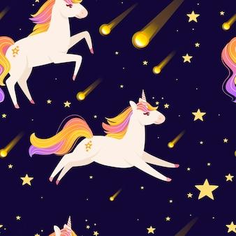 Modello senza cuciture dell'animale mitico magico dalla fiaba che esegue l'illustrazione vettoriale dell'unicorno
