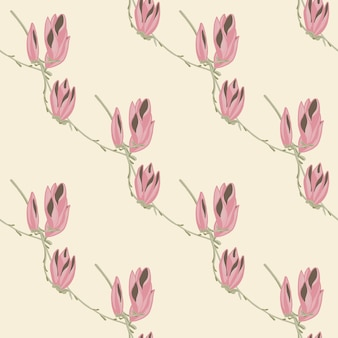 Modello senza cuciture magnolie su sfondo pastello. bellissimo ornamento con fiori. modello floreale geometrico per tessuto. illustrazione di vettore di progettazione.