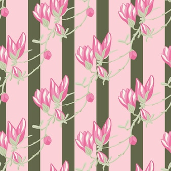 Modello senza cuciture magnolie su sfondo verde striscia rosa. bellissimo ornamento con fiori primaverili.
