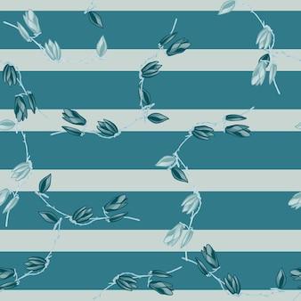 Modello senza cuciture magnolie su sfondo blu a righe. bella trama con fiori primaverili. modello floreale casuale per tessuto. illustrazione di vettore di progettazione.
