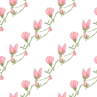 Modello senza cuciture magnolie su sfondo bianco. bellissimo ornamento con fiori rosa primaverili. modello floreale geometrico per tessuto. illustrazione di vettore di progettazione.