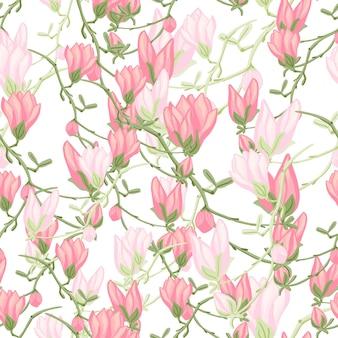 Modello senza cuciture magnolie su sfondo bianco. bella trama con fiori primaverili. modello floreale casuale per tessuto. illustrazione di vettore di progettazione.