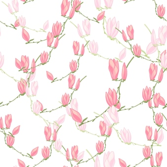 Modello senza cuciture magnolie su sfondo bianco. bella trama con fiori primaverili.