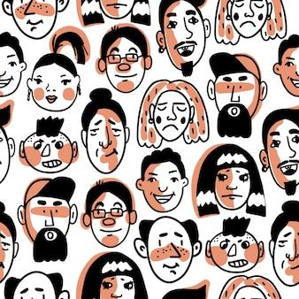 Modello senza cuciture di molti volti umani diversi con varie espressioni