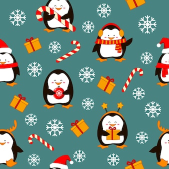 Modello senza cuciture buon natale con simpatici pinguini su uno sfondo innevato