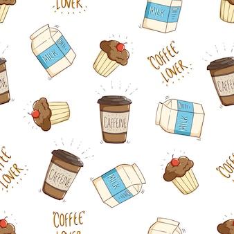 Seamless pattern di latte caffè e cupcake