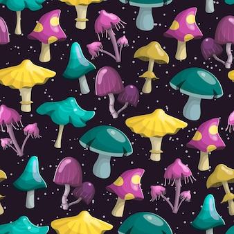Modello senza soluzione di continuità. funghi di diverse forme e colori.