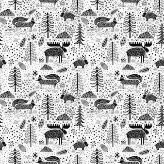 Seamless pattern natura foresta fauna selvatica canada.
