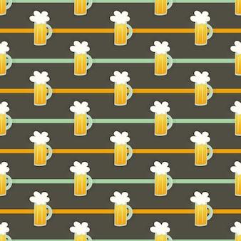 Boccale di birra in vetro arancione senza cuciture su un marrone. illustrazione vettoriale