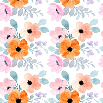Modello senza cuciture di rosa arancio floreale con acquerello