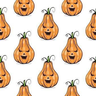 Modello senza cuciture, forme diverse di zucca arancione per arte schizzo disegnato a mano di halloween