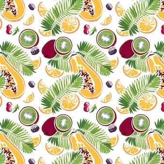 Modello senza cuciture foglia di palma kiwi papaia arancia ciliegia mora su sfondo bianco