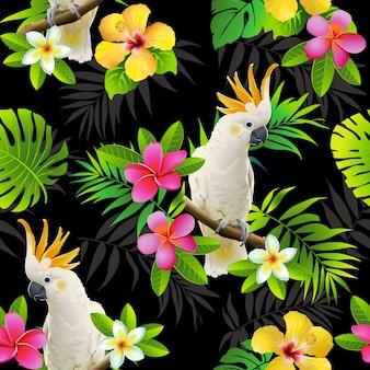 Modello senza cuciture di pappagalli e foglie tropicali