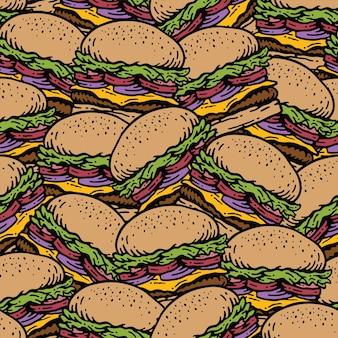 Modello senza cuciture di pila di hamburger in design vintage doodle vintage