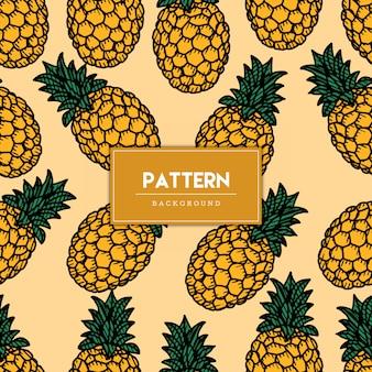 Illustrazione disegnata a mano di frutta ananas senza cuciture