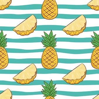 Modello senza cuciture di ananas per il concetto di estate con stile doodle