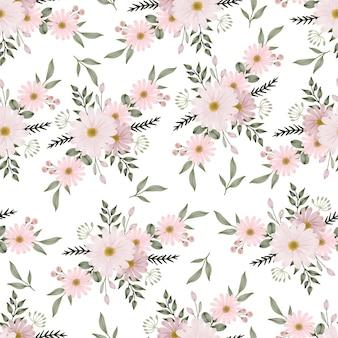 Modello senza cuciture di bouquet di fiori margherita rosa per tessuto e design di sfondo