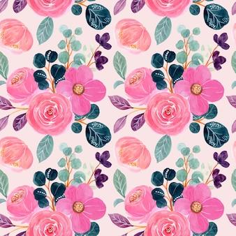 Modello senza cuciture di rosa floreale con acquerello