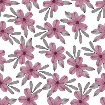 Modello senza cuciture di fiore rosa e foglia grigia