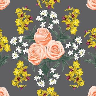 Modello senza cuciture rosa vintage rosa e fiori di orchidea gialli.