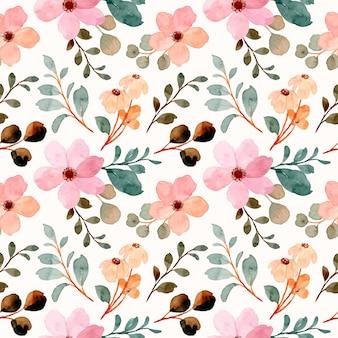 Modello senza cuciture di fiori di campo rosa con acquerello