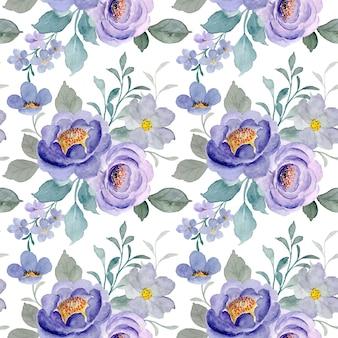Modello senza cuciture di floreale viola con acquerello