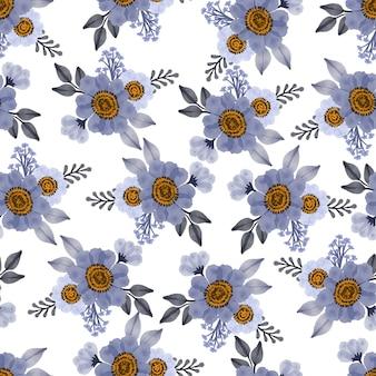 Motivo senza cuciture di fiori viola e foglie grigie per tessuto