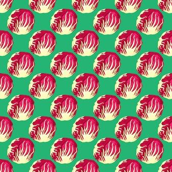Modello senza cuciture insalata di radicchio su sfondo verde acqua. ornamento semplice con lattuga rossa. modello di pianta geometrica per tessuto. illustrazione di vettore di progettazione.