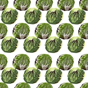 Modello senza cuciture insalata di radicchio su sfondo bianco. ornamento semplice con lattuga. modello di pianta geometrica per tessuto. illustrazione di vettore di progettazione.