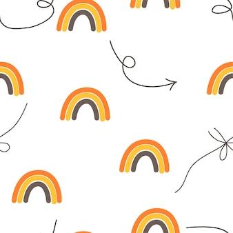 Seamless pattern arcobaleno in stile scandinavo. disegno a mano