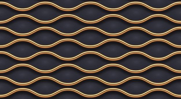 Modello senza soluzione di continuità. onde realistiche di metallo dorato su sfondo scuro. carta da parati di lusso di vettore.