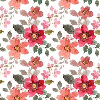 Modello senza cuciture di floreale rosso e marrone con acquerello