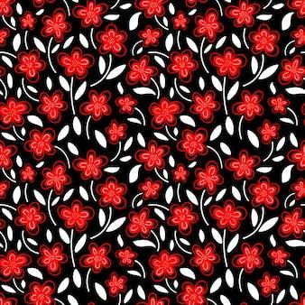Modello senza cuciture di fiori di camomilla rossa Vettore Premium