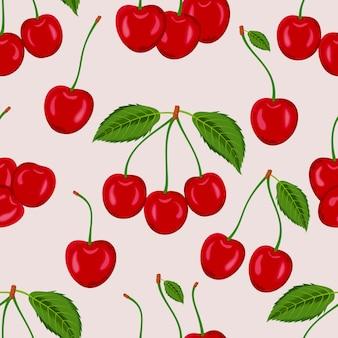 Modello senza giunture di ciliegie rosse con foglie