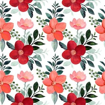 Modello senza cuciture rosso fiore e foglie verdi con acquerello
