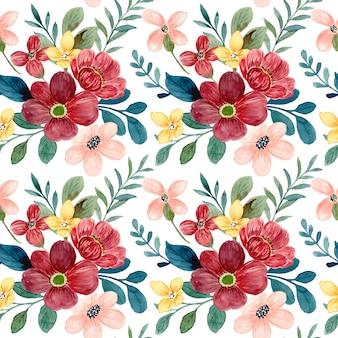Modello senza cuciture di fiore rosso con acquerello with