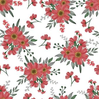 Modello senza cuciture di fiori rossi