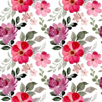Modello senza cuciture dell'acquerello floreale viola rosso