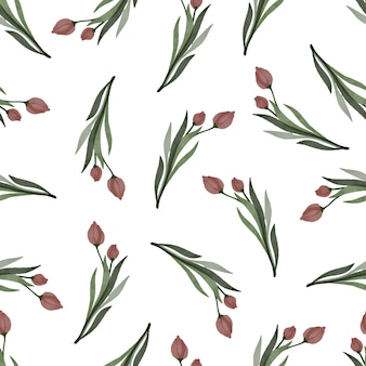 Modello senza cuciture di tulipani rossi per tessuto e design di sfondo