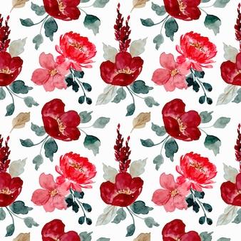 Modello senza giunture di acquerello rosso floreale