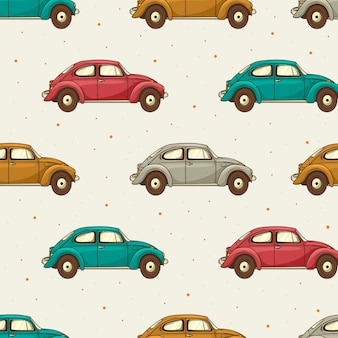 Seamless pattern di auto retrò di diversi colori.
